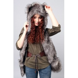 "Beast Hat ""Wolf"" mod. B, faux fur, with long ears"