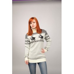"Sweater ""Mating season"" with Reindeers, female model"