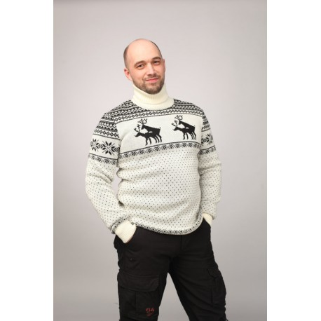 "Sweater ""Mating season"" with Reindeers, male model"
