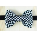 White - black with square patterns pre-tied bow tie with black strap