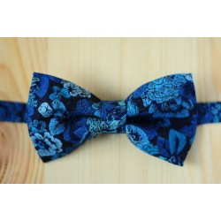 Black with blue patterns pre-tied bow tie