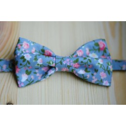With this Blue with flowers pre-tied bow tie