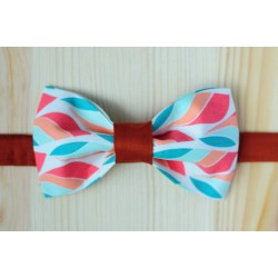 multicolor handmade pre-tied bow tie with red strap
