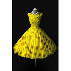 Retro dress, yellow with black dots, made of chiffon