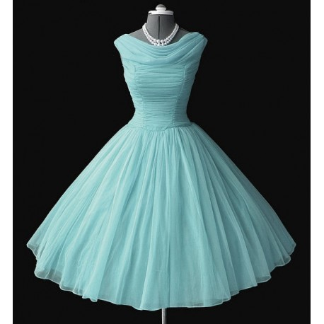 Retro dress, light blue, made of chiffon