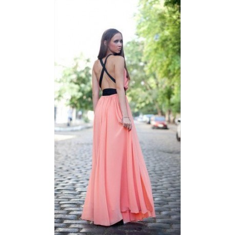 "Dress ""Cloud"", long open back, made of chiffon"