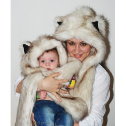 "Beast Hat ""Pale fox"", mod. A, faux fur, animal style, with long ears!"