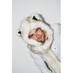 "Beast Hat ""Arctic fox"", short hair, mod. A, faux fur, animal style, with long ears!"