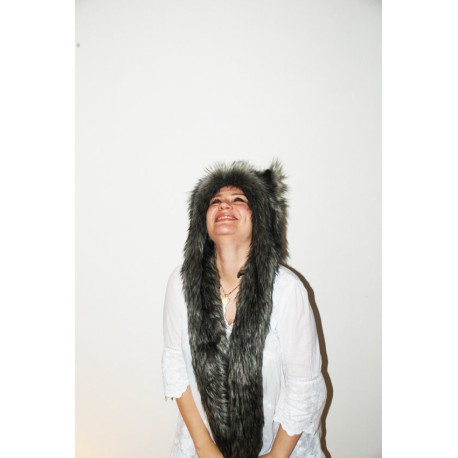 "Beast Hat ""Black fox"", mod. A, faux fur, animal style, with long ears!"