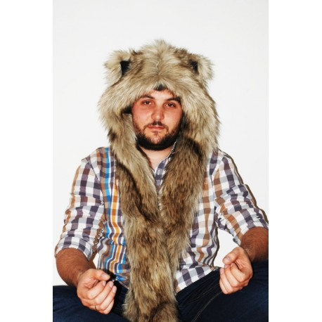 "Beast Hat ""Grey Wolf"", mod. A, faux fur, animal style, with long ears!"