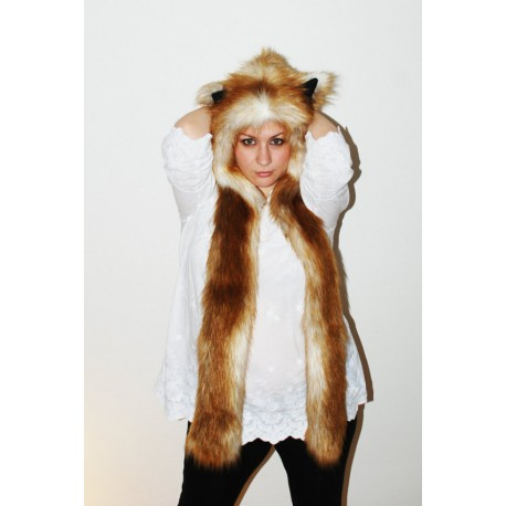 "Beast Hat "" Red Fox"", mod. A, faux fur, animal style, with long ears!"