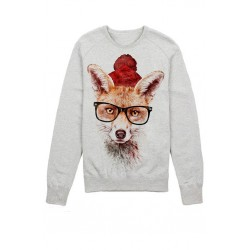 The sweatshirt with printed fox picture. Fox in glasses means wisdom and cleverness of the sweatshirt holder.