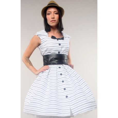 Retro dress, white with black stripes