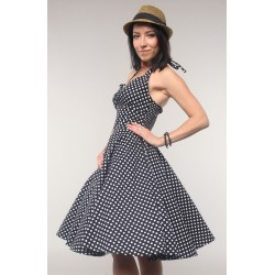 "Retro dress ""Mary"", grey with white dots, made of chiffon"