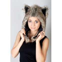 "Beast Hat ""Snow Wolf"" C, faux fur, with ears"