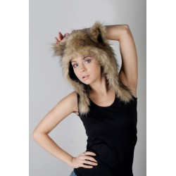 "Beast Hat ""Coyote"" C, faux fur, with ears"