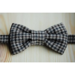 Gray - black with square patterns pre-tied bow tie made of wool