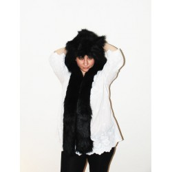"""*Temporarily unavailable* Beast Hat """"Black fox"""", mod. A, faux fur, animal style, with long ears!"""
