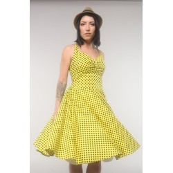"Yellow dress ""Mary"", in retro style with black dots, made of chiffon"