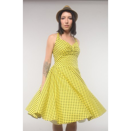 """Yellow dress """"Mary"""", in retro style with black dots, made of chiffon"""